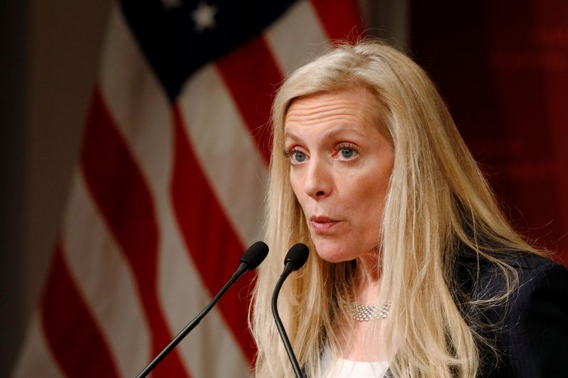 Federal Reserve Board Governor Lael Brainard speaks at the John F. Kennedy School of Government at Harvard University in Cambridge