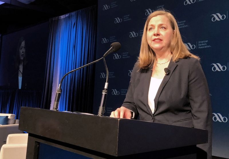 FILE PHOTO: Federal Reserve Governor Michelle Bowman gives her first public remarks as a Fed policymaker at an American Bankers Association conference in San Diego