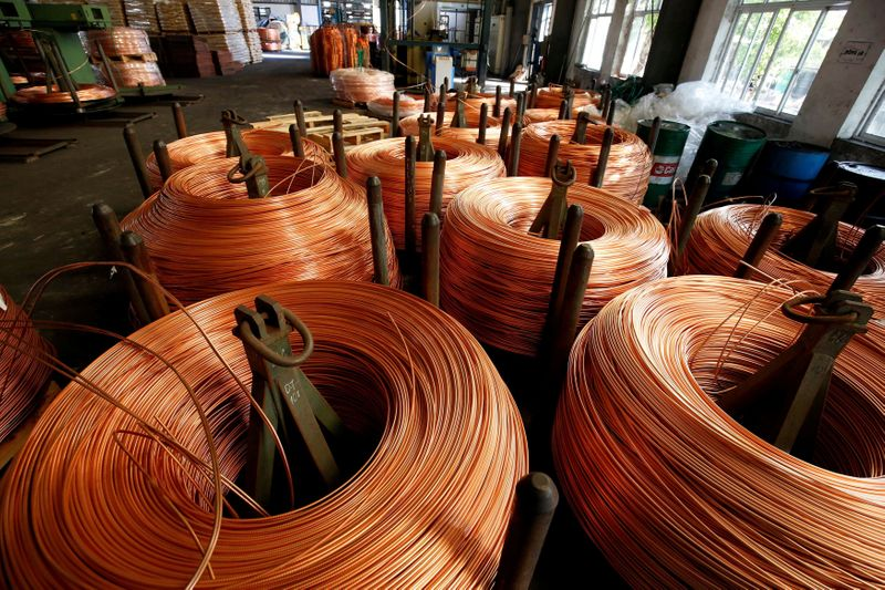 FILE PHOTO: Copper rods are seen at Truong Phu cable factory in northern Hai Duong province, outside Hanoi