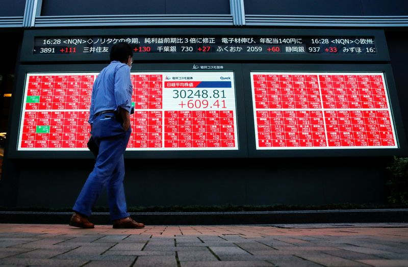 A man wearing a protective face mask amid the coronavirus disease (COVID-19) outbreak, looks at an electronic board displaying Japan's Nikkei Index outside a brokerage in Tokyo