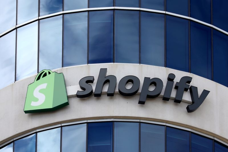 FILE PHOTO: The logo of Shopify is seen outside its headquarters in Ottawa