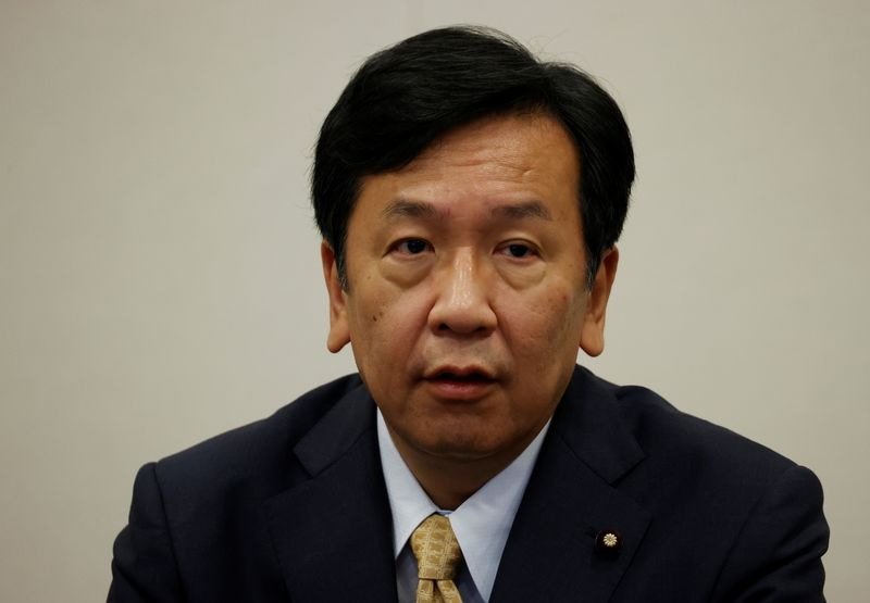 Yukio Edano, head of Japan's largest opposition party, the Constitutional Democratic Party of Japan, speaks at a group interview in Tokyo