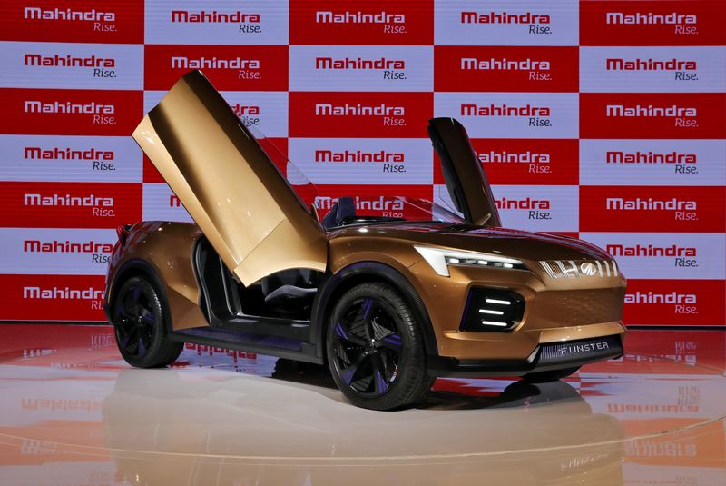FILE PHOTO: Mahindra Funster electric concept SUV is on display after it was unveiled at the India Auto Expo 2020 in Greater Noida