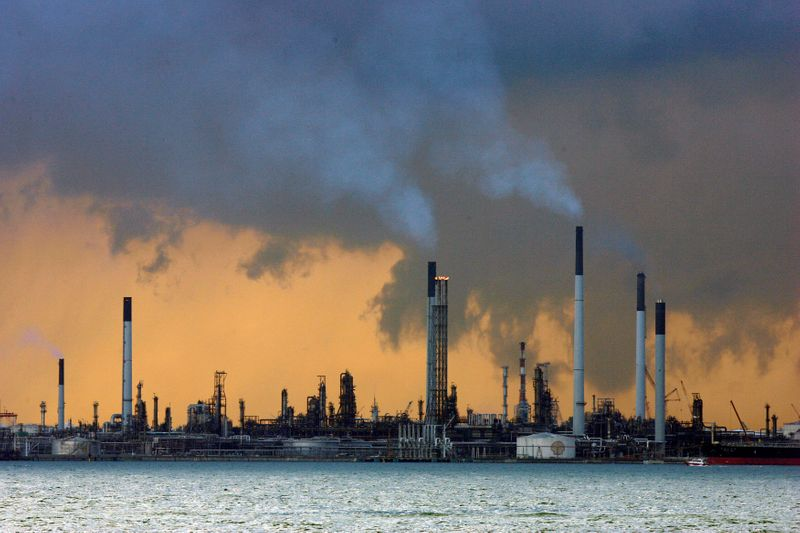 A view of an oil refinery off the coast of Singapore
