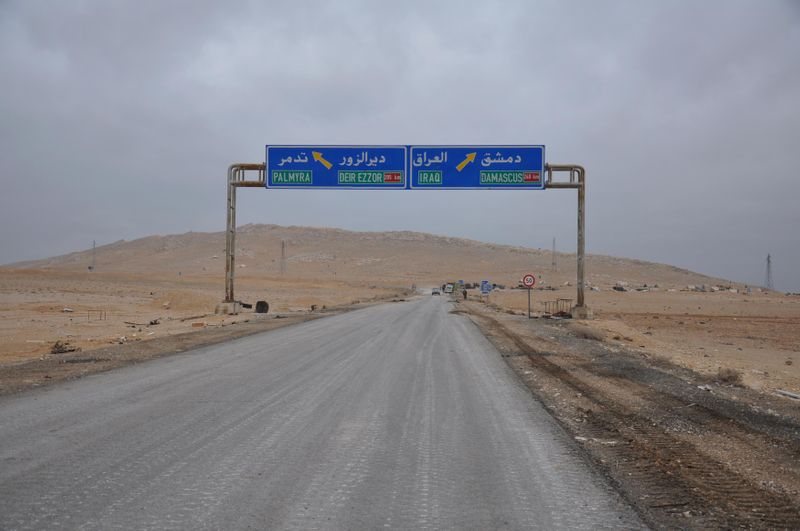 FILE PHOTO: A road sign that shows the direction to the Syrian city of Palmyra is pictured on the edge of the city
