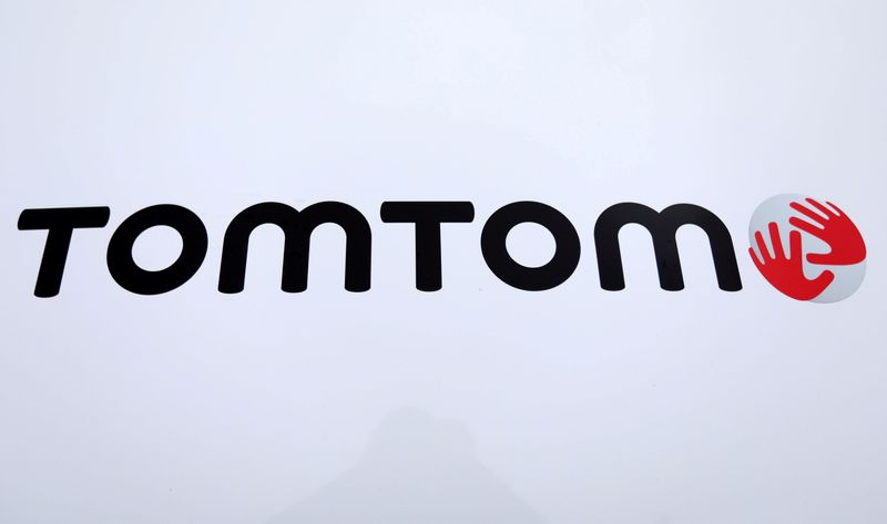 FILE PHOTO: TomTom logo is seen on a vehicle in Eindhoven