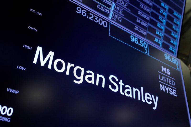 FILE PHOTO: The logo for Morgan Stanley is seen on the trading floor at the New York Stock Exchange (NYSE) in Manhattan, New York City