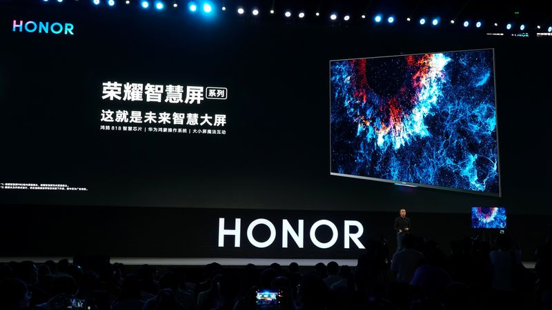President of Huawei's Honor brand George Zhao unveils the Honor Vision Smart Screen equipped with Huawei's new HarmonyOS operating system at the Huawei Developer Conference in Dongguan