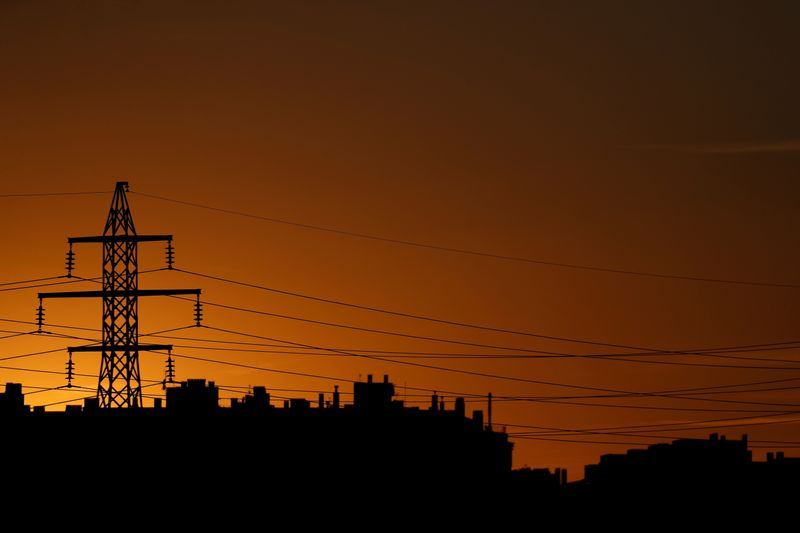 High-voltage power lines and an electricity pylon are pictured at dusk outside Madrid