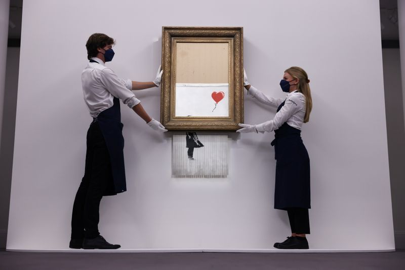 FILE PHOTO: Banksy's 'Love is in the Bin' photocall at Sotheby's