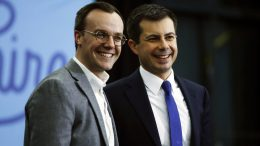 Pete Buttigieg and his husband, Chasten, at a campaign event on Feb. 10, 2020, in Milford, N.H.Matt Rourke / AP file
