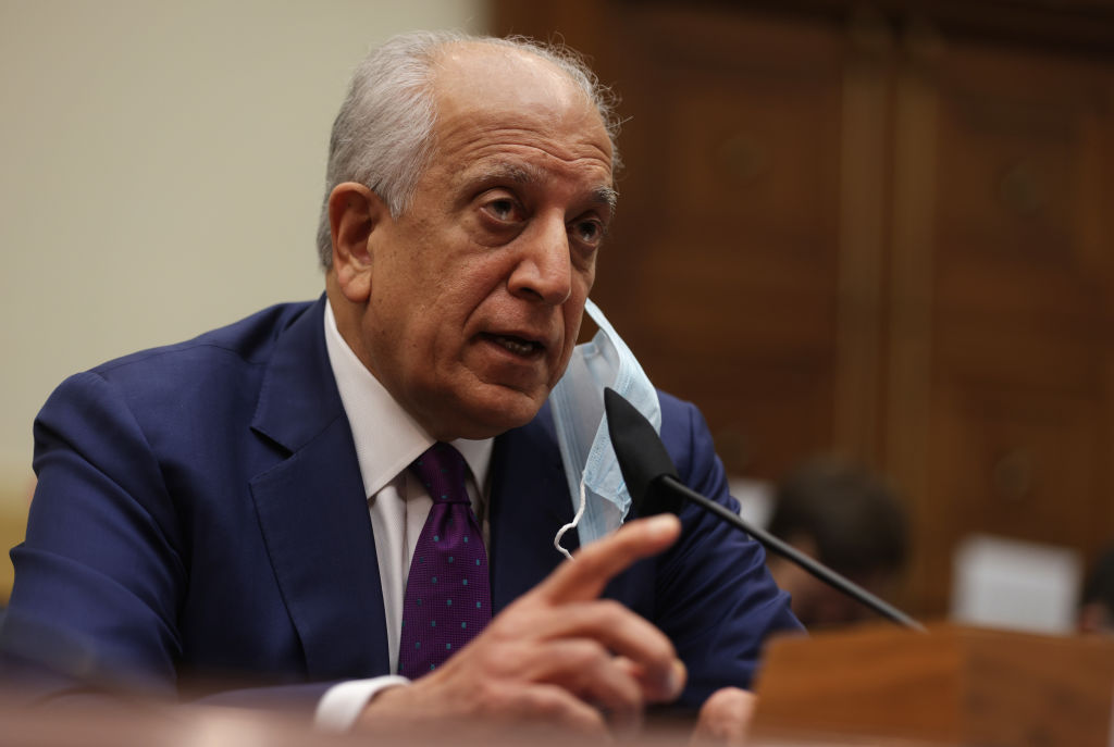 """WASHINGTON, DC - MAY 18: Special Representative on Afghanistan Reconciliation Zalmay Khalilzad testifies during a hearing before the House Committee on Foreign Affairs at Rayburn House Office Building May 18, 2021 on Capitol Hill in Washington, DC. The committee held a hearing on """"The U.S.-Afghanistan Relationship Following the Military Withdrawal."""" (Photo by Alex Wong/Getty Images)"""