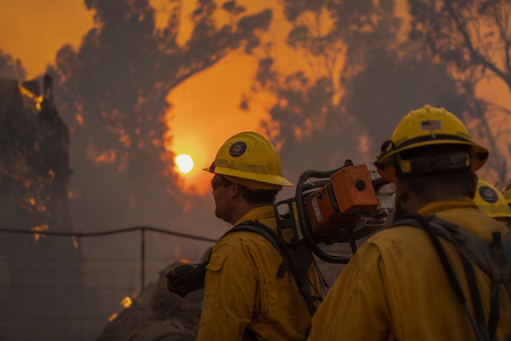 GOLETA, CA - OCTOBER 12: Firefighters battle the Alisal Fire on October 12, 2021 near Goleta, California. Pushed by high winds, the Alisal Fire grew to 6,000 acres overnight, shutting down the much-traveled 101 Freeway along the Pacific Coast. (Photo by David McNew/Getty Images)