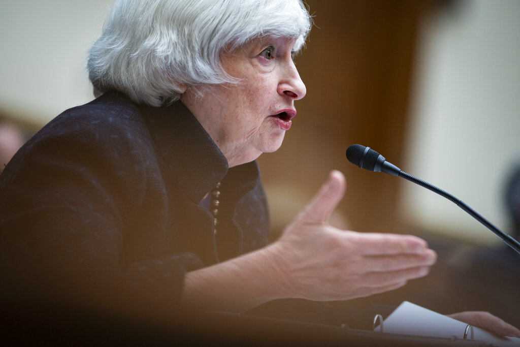 Treasury Secretary Janet Yellen speaks during a House Financial Services Committee hearing, Thursday, Sept. 30, 2021 on Capitol Hill in Washington. (Al Drago/Pool via AP)