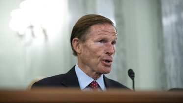 Subcommittee chairman Sen. Richard Blumenthal, D-Conn., questions former Facebook employee and whistleblower Frances Haugen during a Senate Committee on Commerce, Science, and Transportation hearing on Capitol Hill on Tuesday, Oct. 5, 2021, in Washington. (Drew Angerer/Pool via AP)