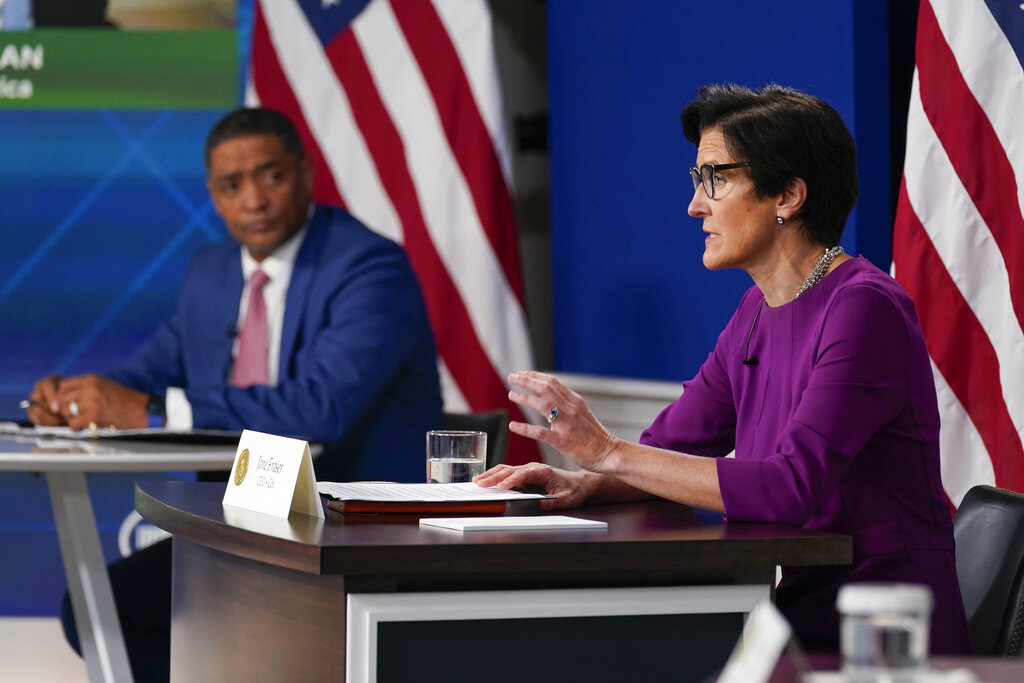 Jane Fraser, CEO of Citigroup, speaks as White House senior adviser Cedric Richmond listens during a meeting with President Joe Biden and business leaders about the debt limit in the South Court Auditorium on the White House campus, Wednesday, Oct. 6, 2021, in Washington. (AP Photo/Evan Vucci)