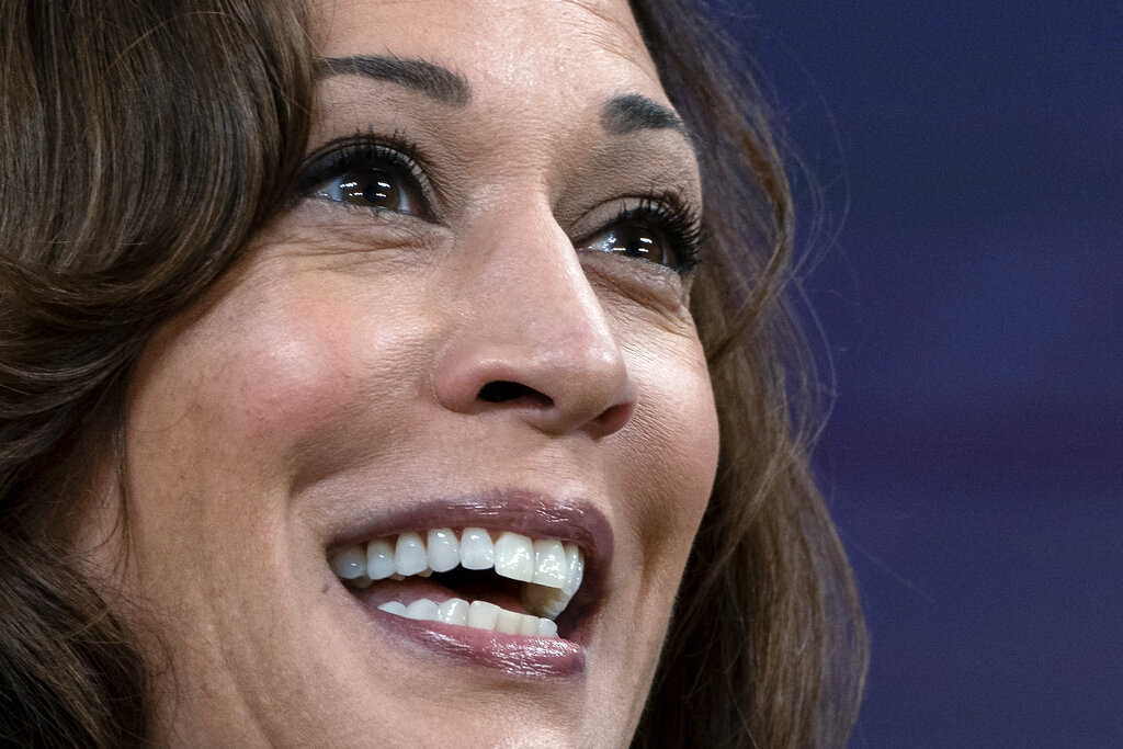Vice President Kamala Harris speaks to the National Congress of American Indians' 78th Annual Convention, Tuesday, Oct. 12, 2021, from the South Court Auditorium on the White House complex in Washington. (AP Photo/Jacquelyn Martin)