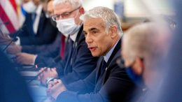 Israeli Foreign Minister Yair Lapid speaks during a bilateral meeting with Secretary of State Antony Blinken at the State Department in Washington, Wednesday, Oct. 13, 2021. (AP Photo/Andrew Harnik, Pool)