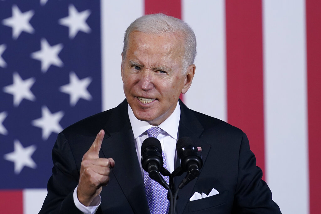 President Joe Biden speaks about his infrastructure plan and his domestic agenda during a visit to the Electric City Trolley Museum in Scranton, Pa., Wednesday, Oct. 20, 2021. (AP Photo/Susan Walsh)