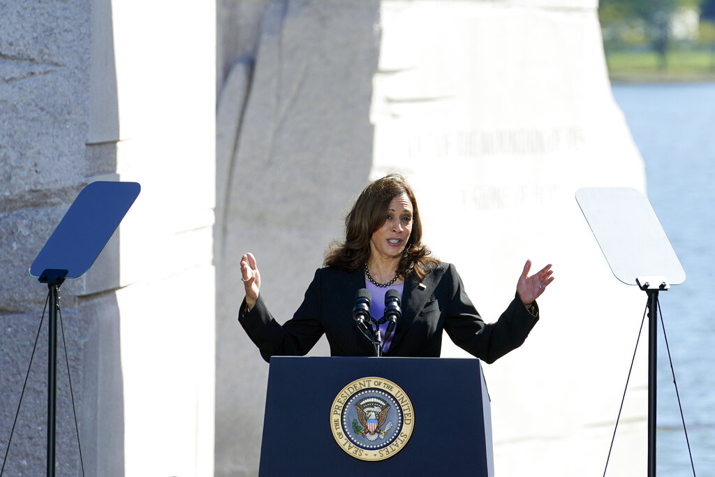 Vice President Kamala Harris speaks during an event marking the 10th anniversary of the dedication of the Martin Luther King, Jr. Memorial in Washington, Thursday, Oct. 21, 2021. (AP Photo/Susan Walsh)