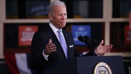 SCRANTON, PENNSYLVANIA - OCTOBER 20: President Joe Biden speaks at an event at the Electric City Trolley Museum in Scranton on October 20, 2021 in Scranton, Pennsylvania. In an effort to appease West Virginia Senator Joe Manchin, the President has discussed a $1.75 to $1.9 trillion price tag for the spending package that's currently being negotiated. (Photo by Spencer Platt/Getty Images)