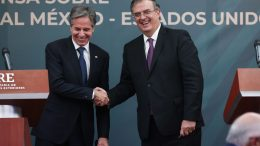 MEXICO CITY, MEXICO - OCTOBER 08: (L-R) U.S. Secretary of State Antony Blinken and Mexican Foreign Minister Marcelo Ebrard shake hands during a conference as part of the High Level Security Dialogue at SRE Building on October 08, 2021 in Mexico City, Mexico. Antony Blinken and Marcelo Ebrard also meet to dialogue on the relation between both countries. President of Mexico Lopez Obrador joined Blinken and Ebrard in a private event. (Photo by Hector Vivas/Getty Images)