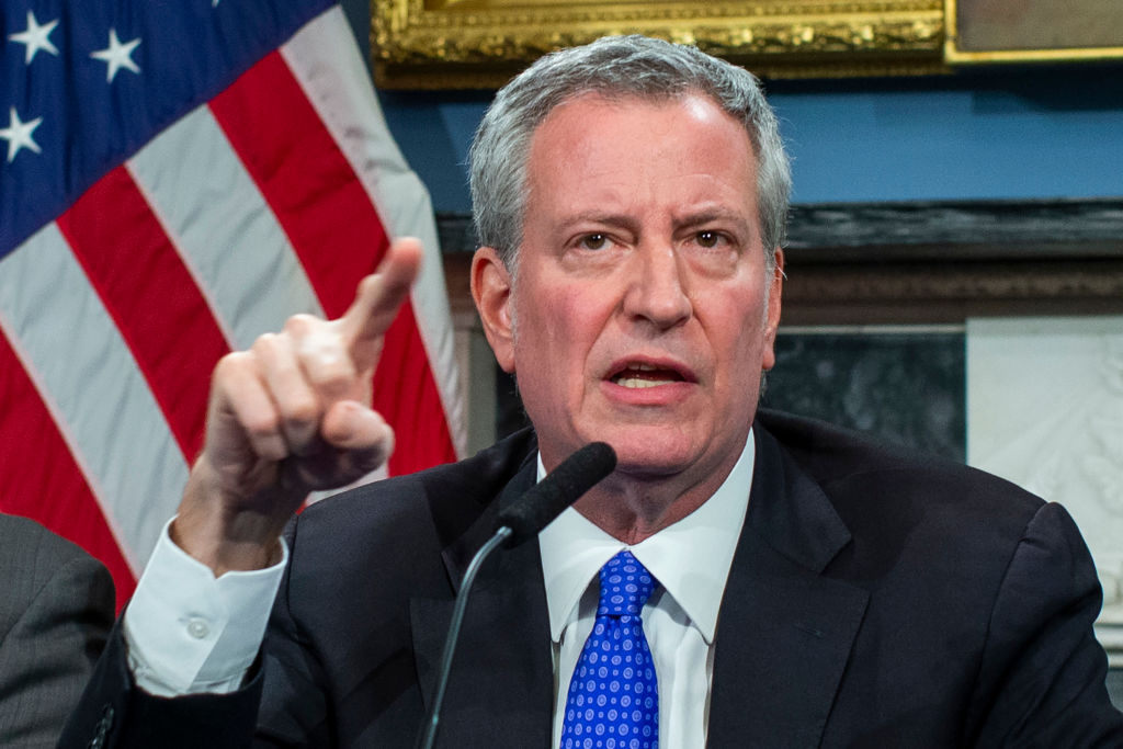 NEW YORK, NY - JANUARY 03: New York Mayor Bill de Blasio speaks to the media during a press conference at City Hall on January 3, 2020 in New York City. The NYPD will take actions to protect the city and residents against any possible retaliation after the deadly US airstrike in Iraq, Mayor Bill de Blasio said during a press conference. (Photo by Eduardo Munoz Alvarez/Getty Images)
