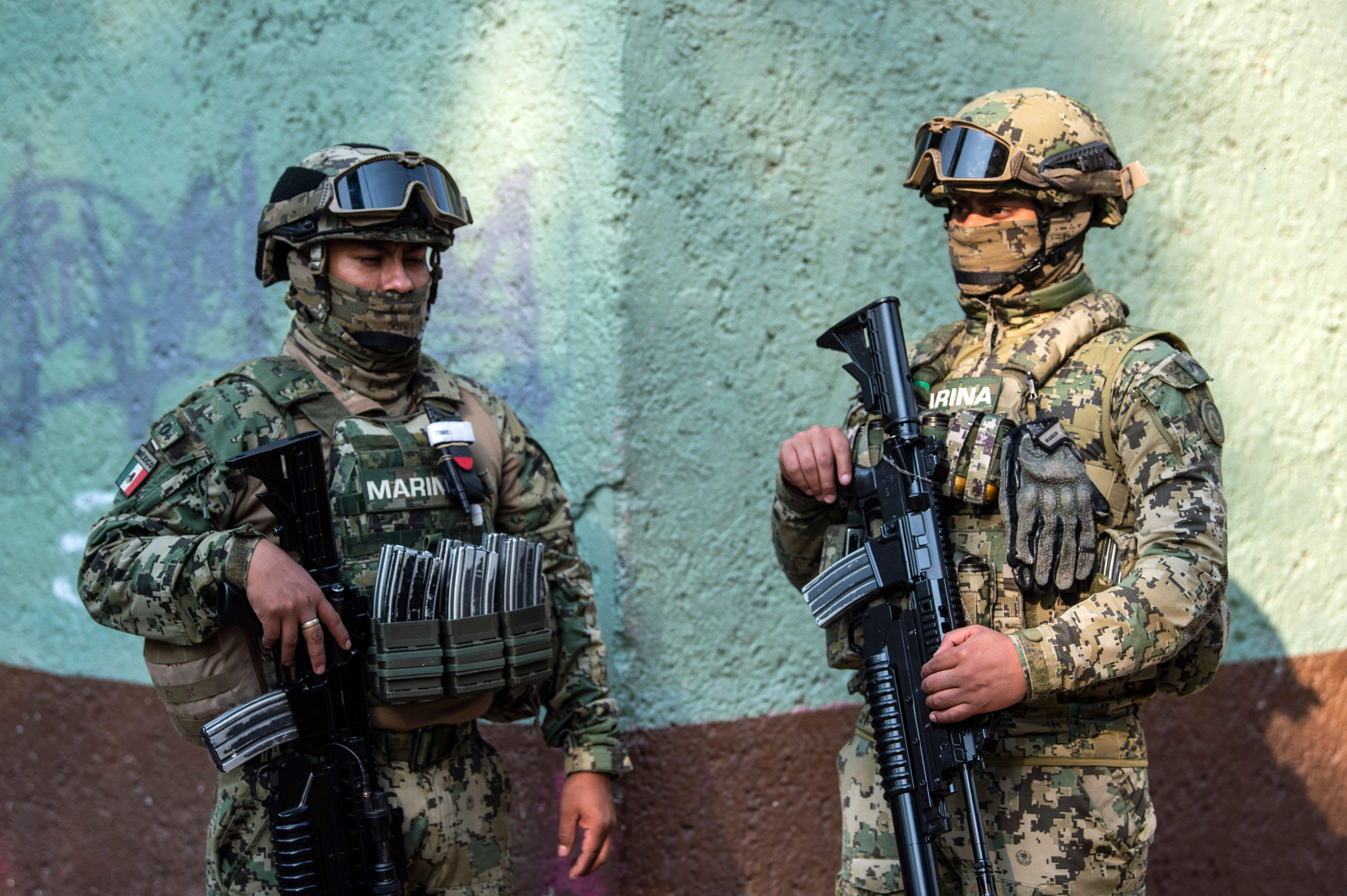Mexico Navy members in Mexico City. (Photo by PEDRO PARDO/AFP via Getty Images)