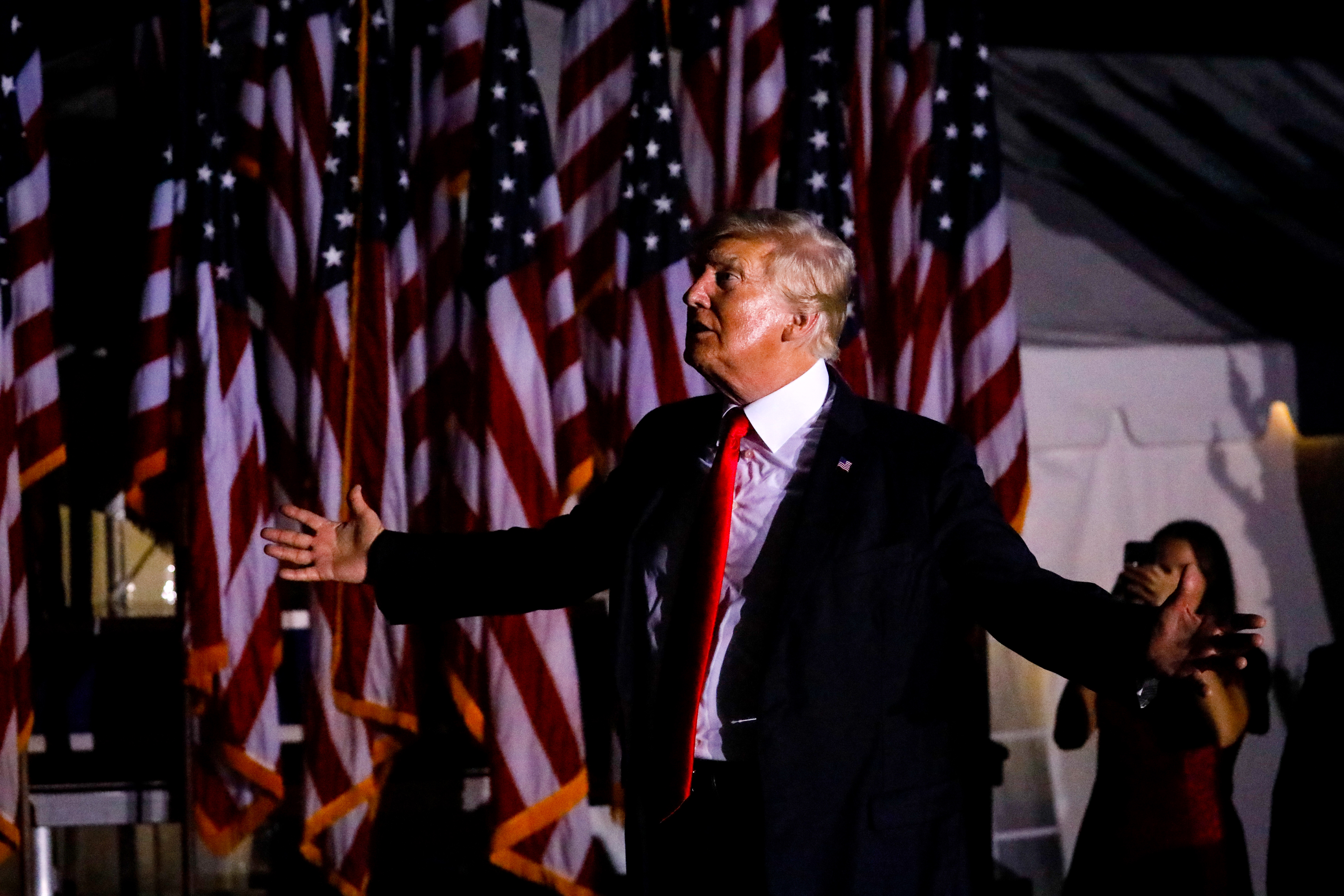 President Donald Trump leaves after a rally on July 3, 2021 in Sarasota, Florida. Co-sponsored by the Republican Party of Florida, the rally marks Trump's further support of the MAGA agenda and accomplishments of his administration. (Photo by Eva Marie Uzcategui/Getty Images)