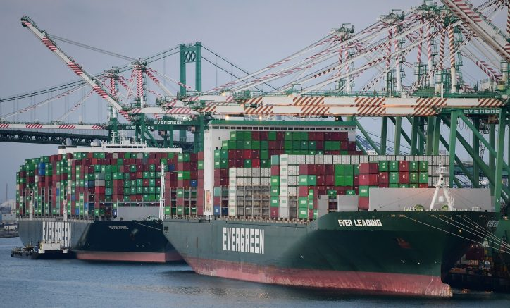Cargo ships filled with containers dock at the Port of Los Angeles on September 28, 2021 in Los Angeles, California. - A record number of cargo ships are stuck floating and waiting off the southern California coast amid a supply chain crisis which could mean fewer gifts and toys for Christmas this year as a combination of growing volumes of cargo, Covid-19 related saftey measures and a labor shortage slow the handling and processing of cargo from each ship. (Photo by Frederic J. BROWN / AFP) (Photo by FREDERIC J. BROWN/AFP via Getty Images)