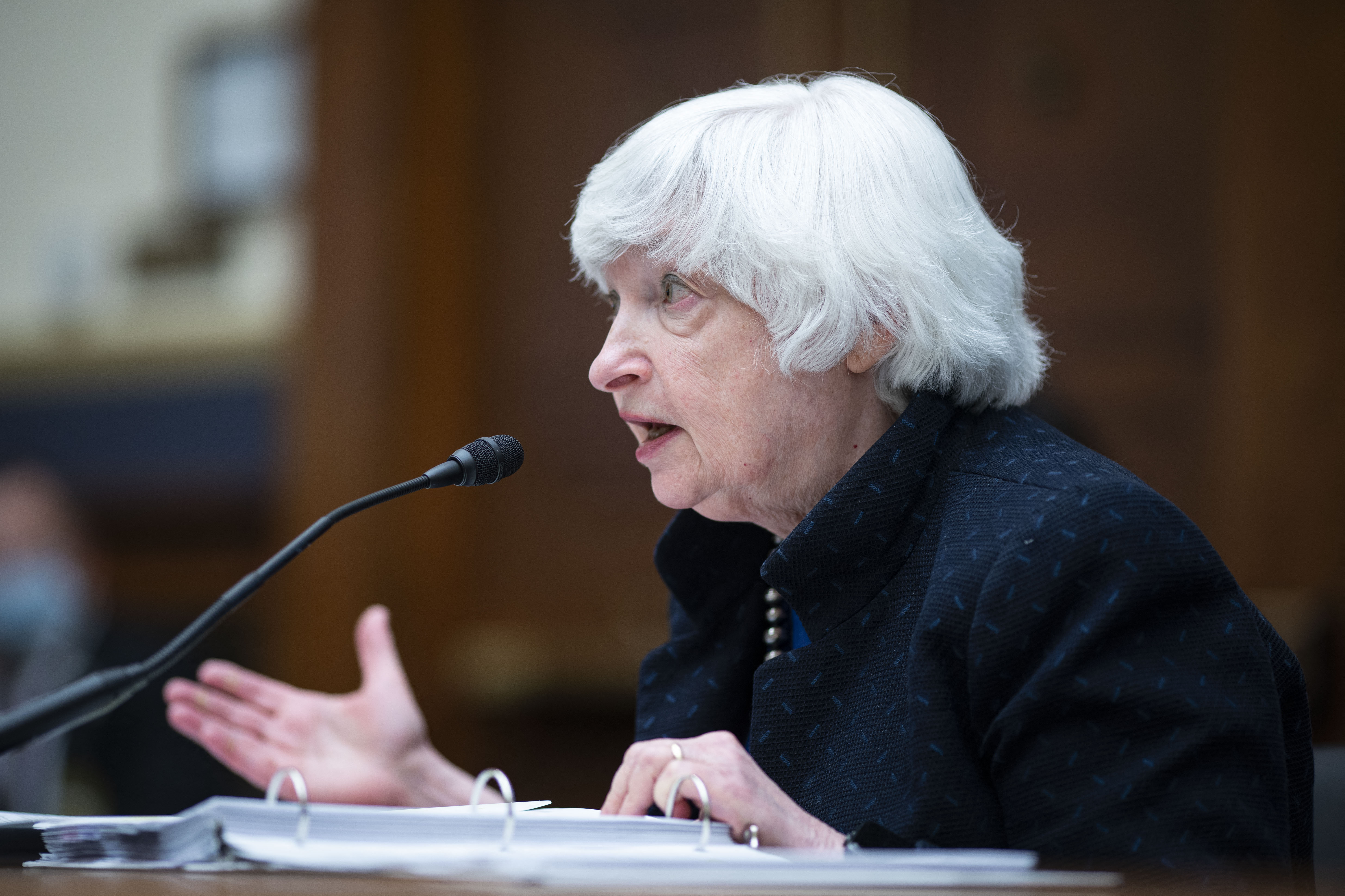 U.S. Treasury Secretary Janet Yellen testifies before the House Oversight And Government Reform Committee hearings on oversight of the Treasury Department's and Federal Reserve's Pandemic Response, on Capitol Hill in Washington, DC, September 30, 2021. (Photo by AL DRAGO/AFP via Getty Images)