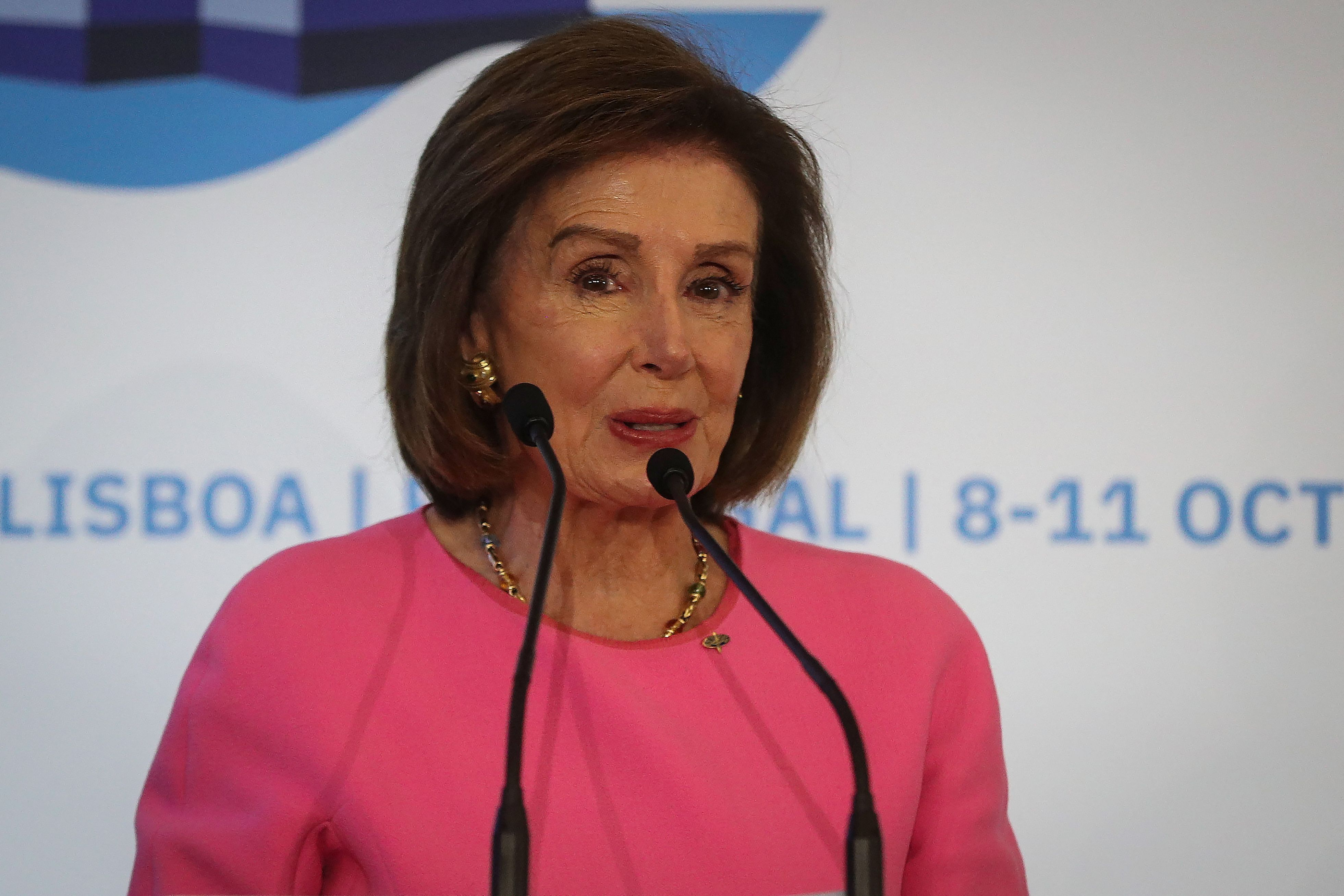US Speaker of the House Nancy Pelosi speaks during the 67th annual session of NATO parliamentary assembly in Lisbon, on October 11, 2021. (Photo by CARLOS COSTA / AFP) (Photo by CARLOS COSTA/AFP via Getty Images)