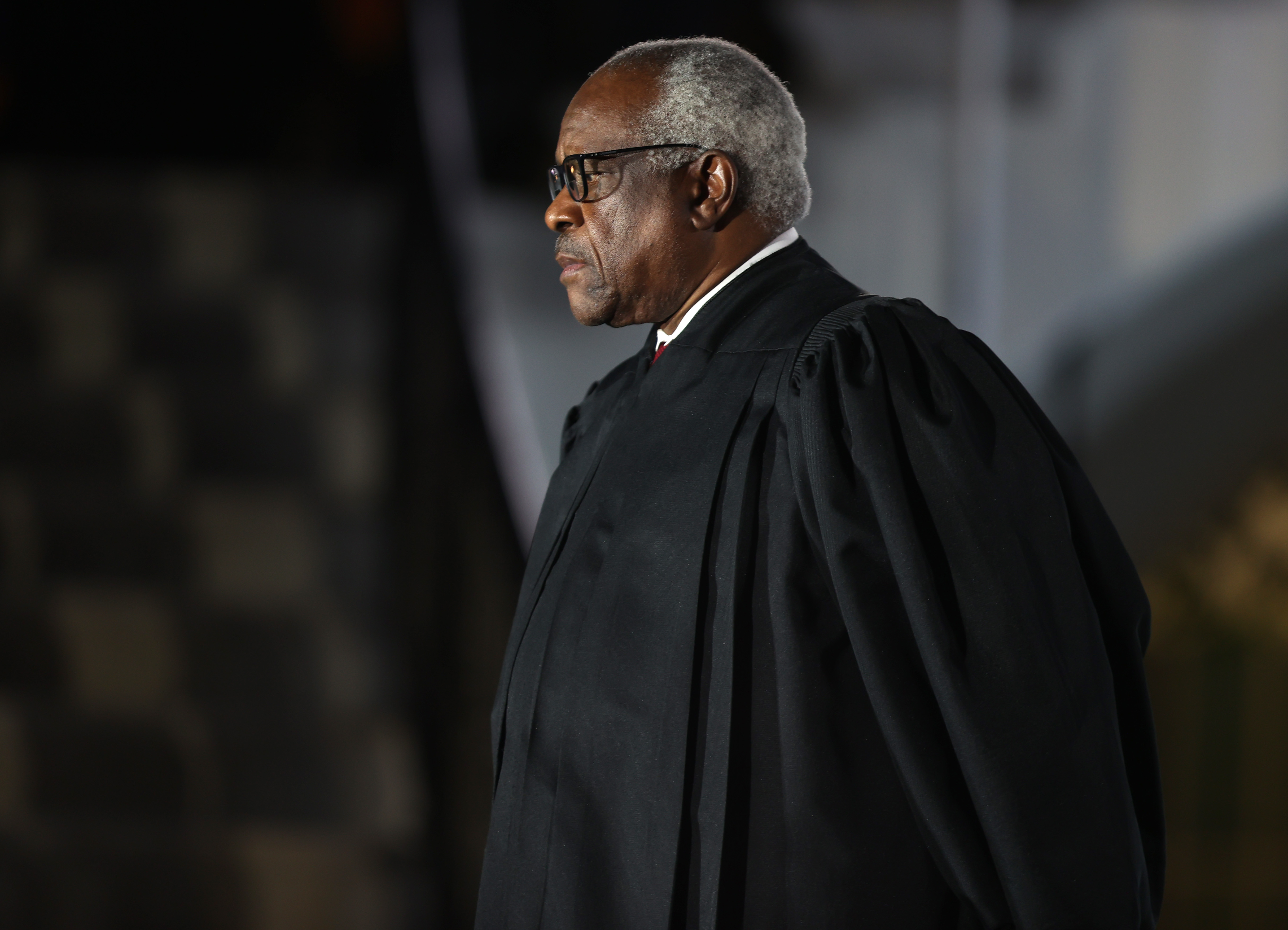 Supreme Court Associate Justice Clarence Thomas attends the ceremonial swearing-in ceremony for Amy Coney Barrett to be the U.S. Supreme Court Associate Justice on the South Lawn of the White House October 26, 2020 in Washington, DC. The Senate confirmed Barrett's nomination to the Supreme Court today by a vote of 52-48. (Photo by Tasos Katopodis/Getty Images)
