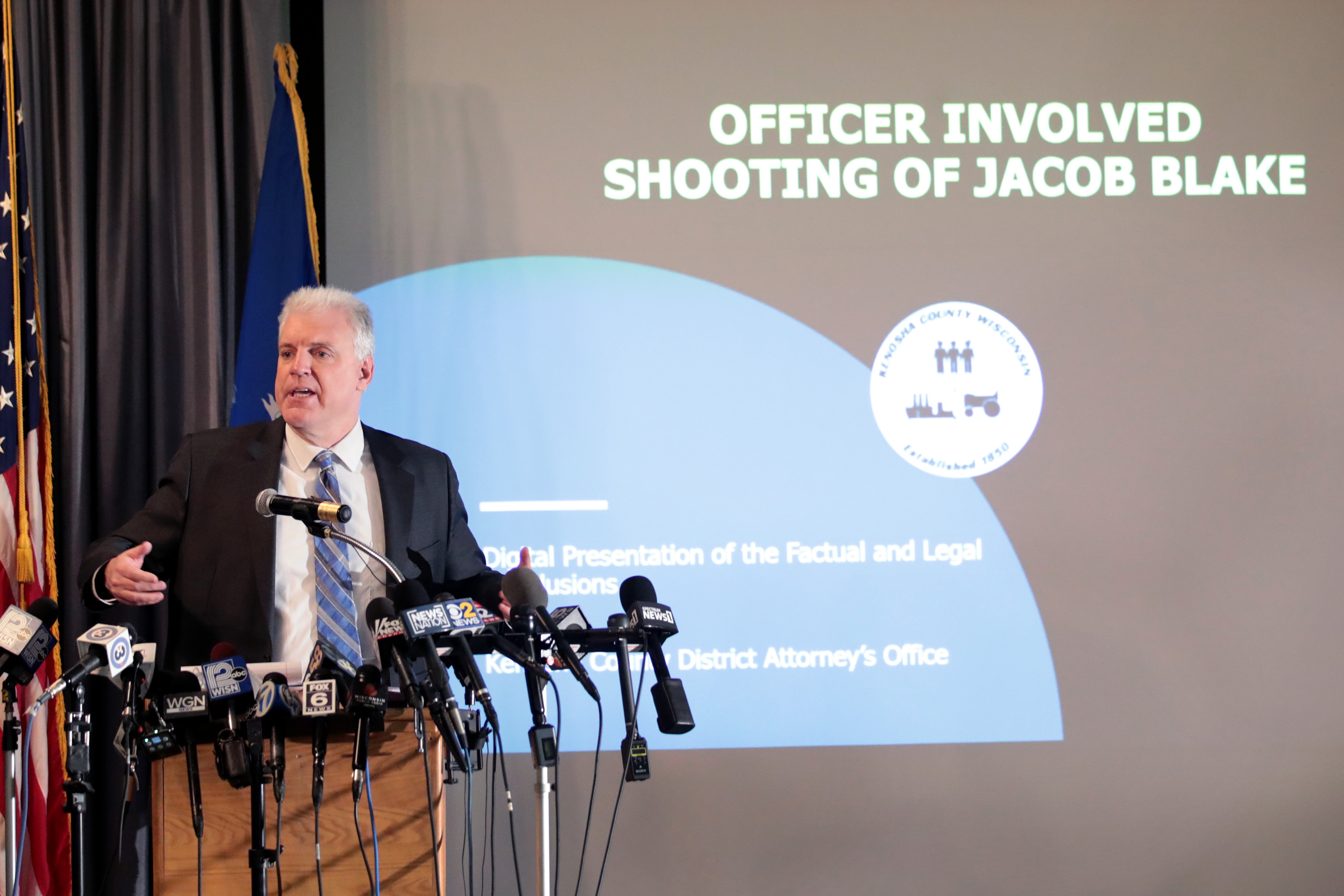 Kenosha County Courthouse District Attorney Michael Graveley announces no charges would be filed against Police Officer Rusten Sheskey for the shooting of Jacob Blake on January 05, 2021 in Kenosha, Wisconsin. Sheskey shot Jacob Blake 7 times in the back during an incident over the summer which led to several days of rioting and unrest in the city. (Photo by Scott Olson/Getty Images)