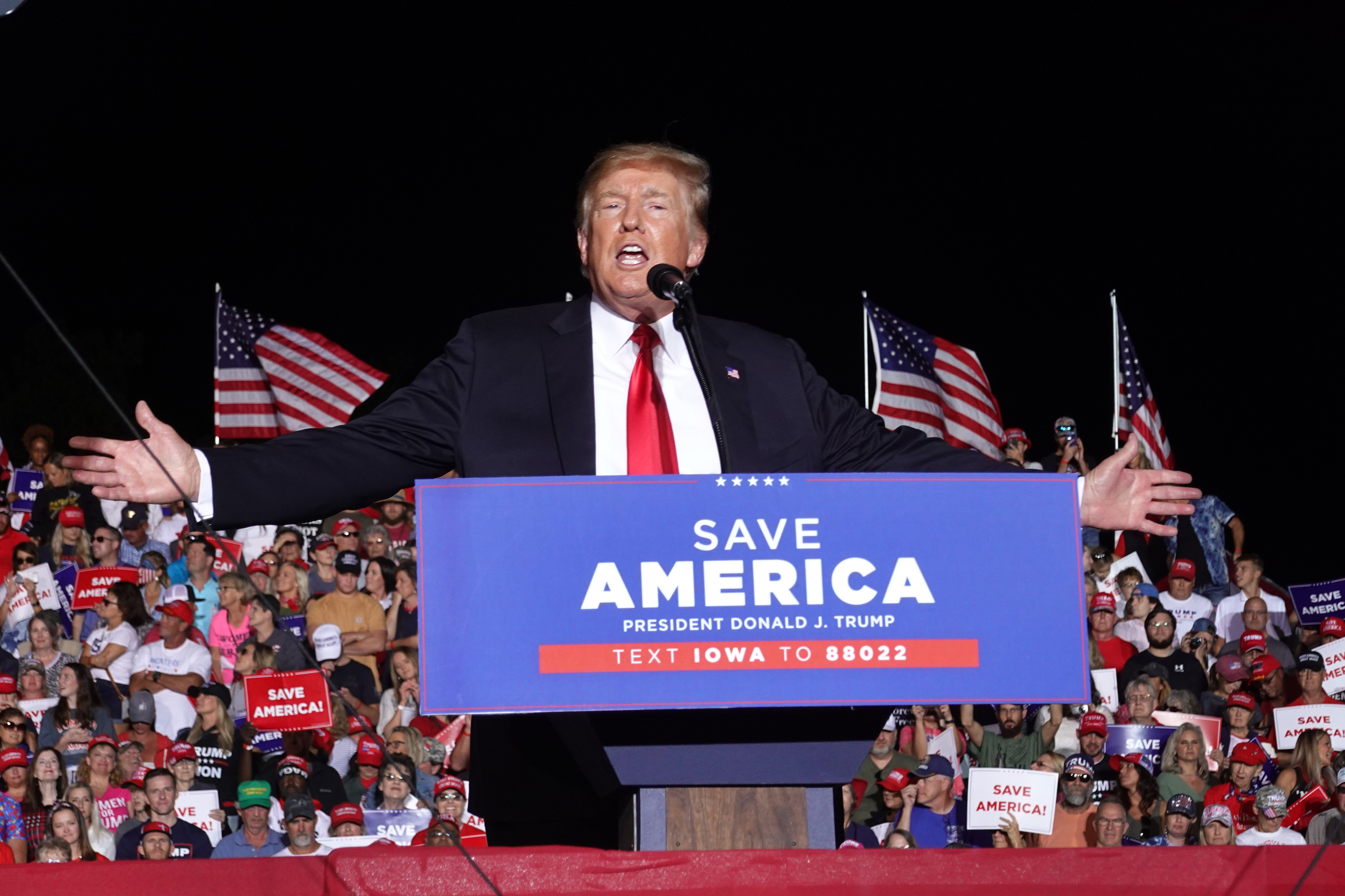 President Donald Trump speaks to supporters during a rally at the Iowa State Fairgrounds on October 09, 2021 in Des Moines, Iowa. This is Trump's first rally in Iowa since the 2020 election. (Photo by Scott Olson/Getty Images)