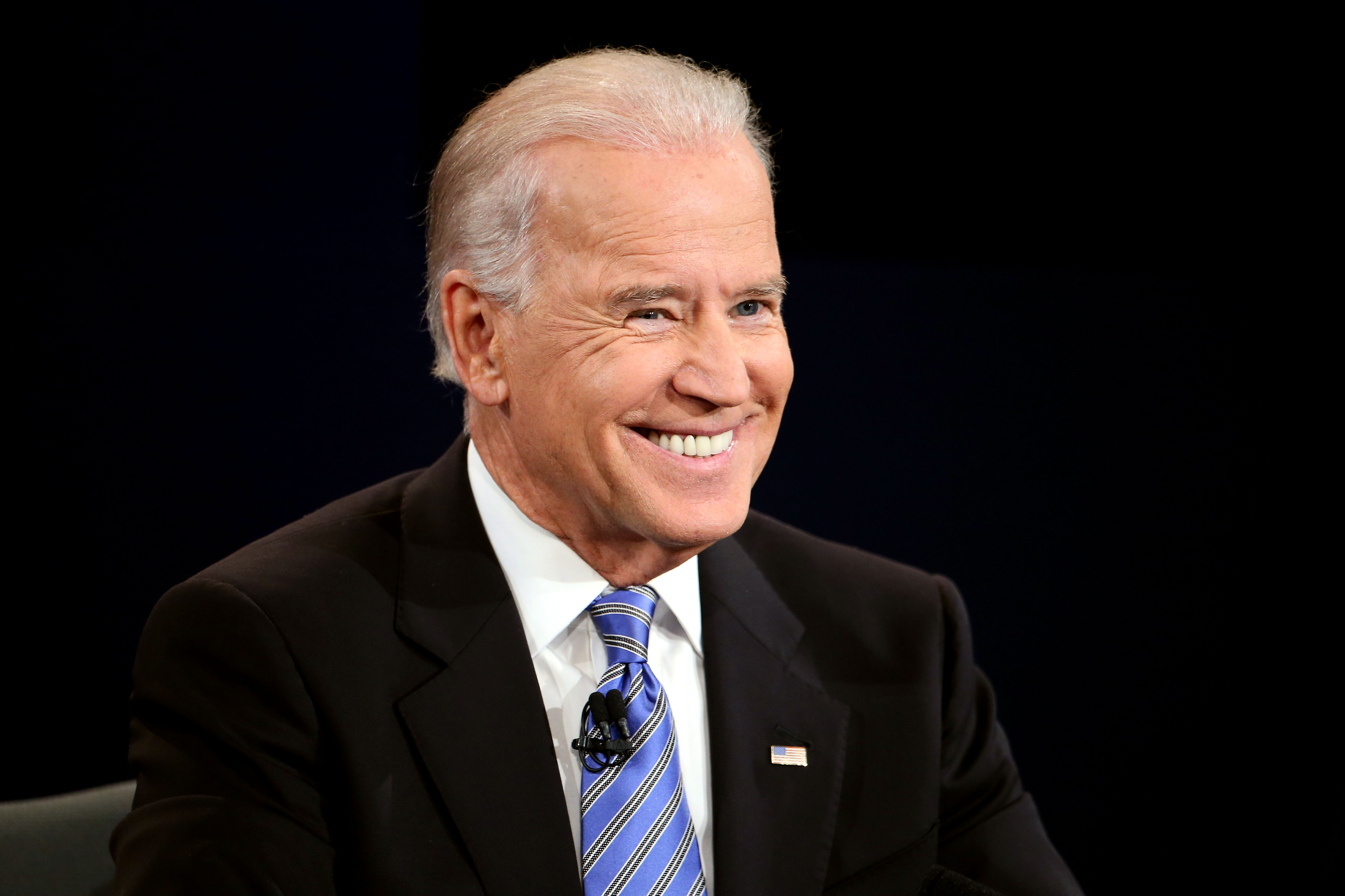 Joe Biden smiles during the vice presidential debate at Centre College October 11, 2012 in Danville, Kentucky. This is the second of four debates during the presidential election season and the only debate between the vice presidential candidates before the closely-contested election November 6. (Photo by Chip Somodevilla/Getty Images)
