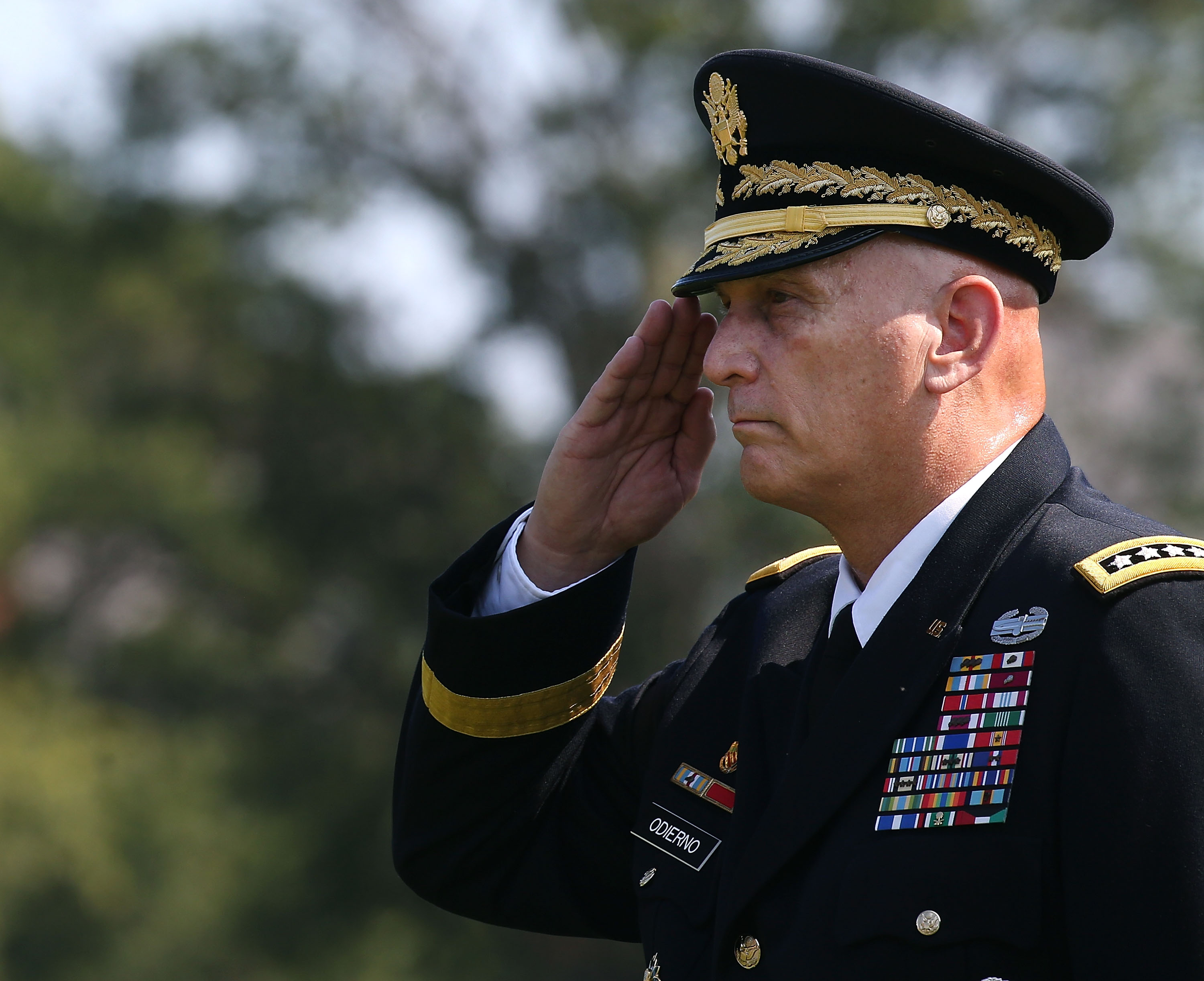 Gen. Ray Odierno salutes during his retirement ceremony at Joint Base Myer-Henderson, August 14, 2015 in Arlington, Virginia. (Photo by Mark Wilson/Getty Images)