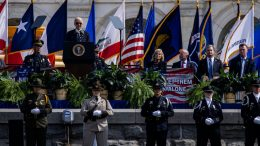 WASHINGTON, DC - OCTOBER 16: U.S. President Joe Biden speaks during the 40th Annual National Peace Officers Memorial Service on the West Front of the U.S. Capitol Building on October 16, 2020 in Washington, DC. The memorial service is being held to honor the 491 law enforcement officers who lost their lives in the line of duty in 2019 and 2020. (Photo by Samuel Corum/Getty Images)