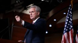 WASHINGTON, DC - OCTOBER 21: House Minority Leader Kevin McCarthy (R-CA) gestures as he speaks at his weekly press conference at the U.S. Capitol Building on October 21, 2021 in Washington, DC. Leader McCarthy discussed a range of topics including the upcoming house vote to hold former Trump adviser Stephen Bannon in criminal contempt for refusing to cooperate with the select committee investigating the January 6 attack. (Photo by Anna Moneymaker/Getty Images)