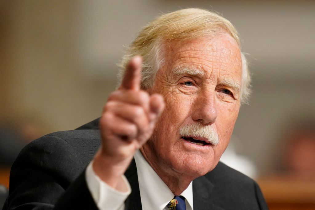 Sen. Angus King, I-Maine, speaks during a Senate Armed Services Committee hearing on the conclusion of military operations in Afghanistan and plans for future counterterrorism operations in the Dirksen Senate Office Building on Capitol Hill in Washington, DC on September 28, 2021. (Photo by Patrick Semansky / POOL / AFP) (Photo by PATRICK SEMANSKY/POOL/AFP via Getty Images)