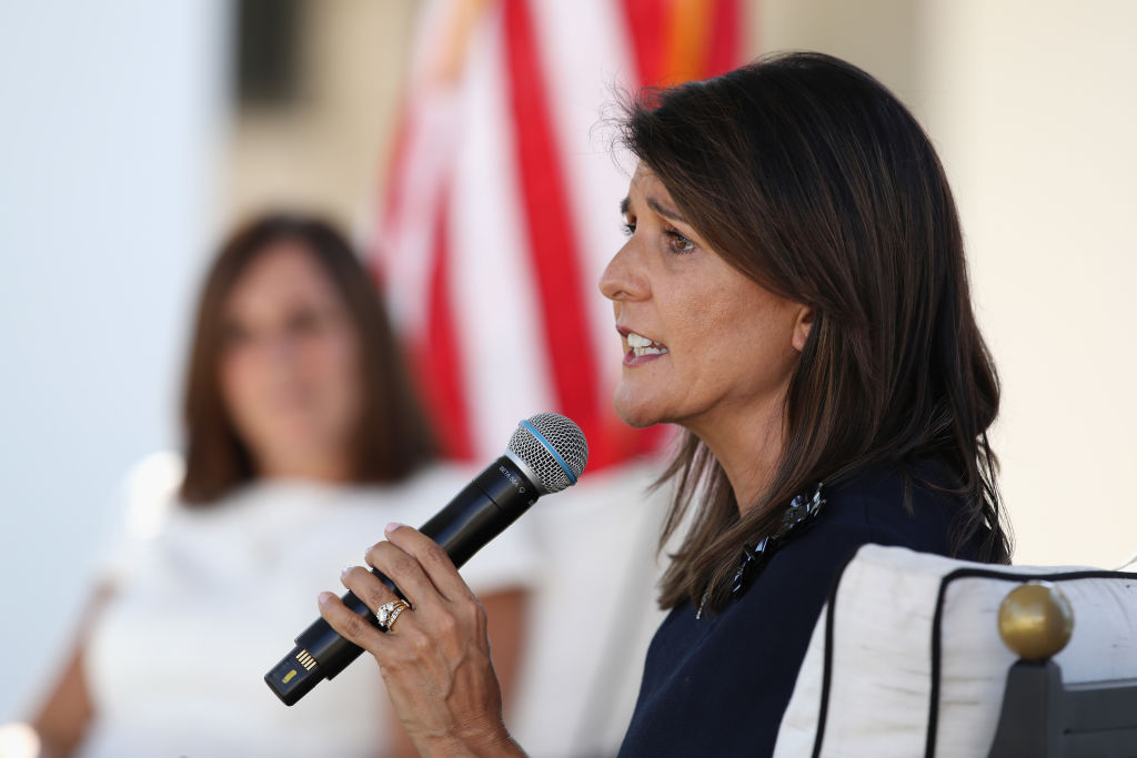 SCOTTSDALE, ARIZONA - OCTOBER 12: Former U.N. Ambassador Nikki Haley (R) speaks at a campaign event for U.S. Sen. Martha McSally (R-AZ) on October 12, 2020 in Scottsdale, Arizona. McSally is looking to gain ground against Democratic Senate candidate and retired astronaut Mark Kelly, who, according to reports, is leading in polling and fundraising. (Photo by Christian Petersen/Getty Images)