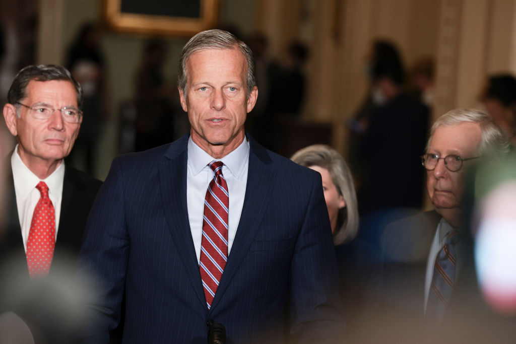 WASHINGTON, DC - OCTOBER 19: Senate Minority Whip Sen. John Thune (R-SD) addresses reporters following a weekly Republican policy luncheon at the U.S. Capitol on October 19, 2021 in Washington, DC. Members of the Senate Republican leadership spoke on a range of topics including inflation, the 2022 midterm elections and the Internal Revenue Service. (Photo by Anna Moneymaker/Getty Images)