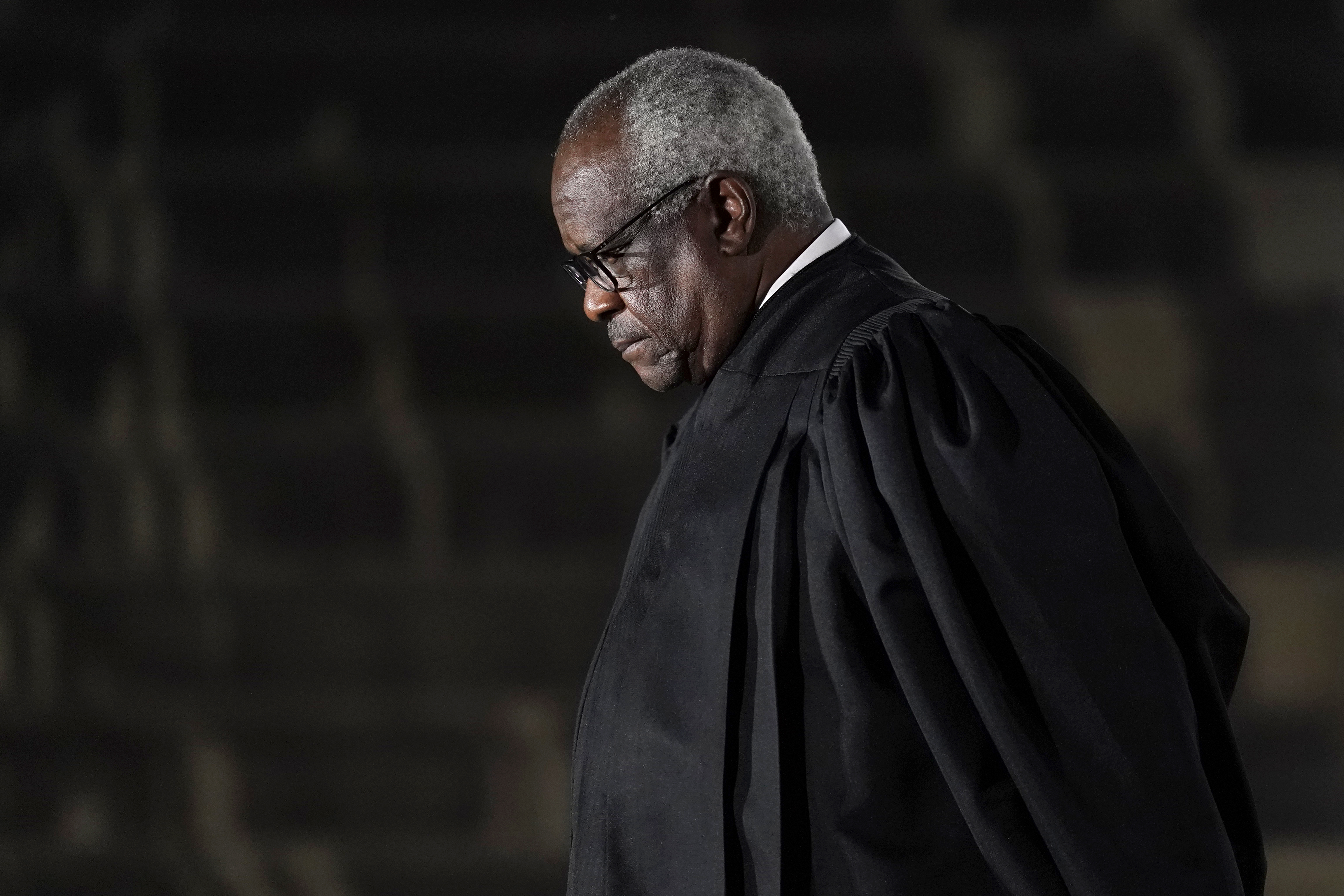 Supreme Court Justice Clarence Thomas issued a concurrence in a case over former President Donald Trump's Twitter account in which Thomas suggested that social media companies should be regulated like a common carrier, like a telephone company. Patrick Semansky/AP