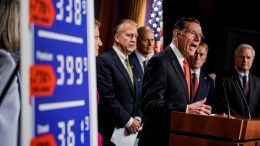 WASHINGTON, DC - OCTOBER 27: Sen. John Barrasso (R-WY) speaks alongside other Republican Senators during a press conference on rising gas an energy prices at the U.S. Capitol on October 27, 2021 in Washington, DC. Republicans are placing blame on the Biden Administration for the quickly rising gas prices this year as predictions estimate that heating costs this winter will rise significantly as well. (Photo by Samuel Corum/Getty Images)