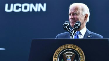 US President Joe Biden speaks at the dedication of the Dodd Center for Human Rights at the University of Connecticut on October 15, 2021 in Storrs, Connecticut. (Photo by Brendan Smialowski / AFP) (Photo by BRENDAN SMIALOWSKI/AFP via Getty Images)