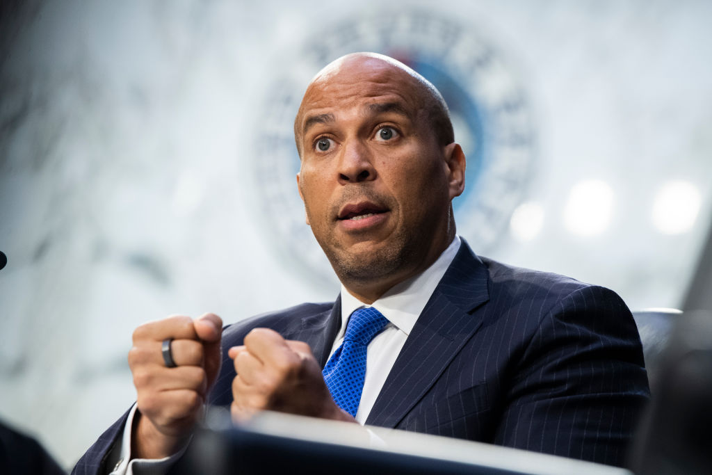 WASHINGTON, DC - SEPTEMBER 29: Sen. Cory Booker (D-NJ) speaks during the Senate Judiciary Committee hearing examining Texas's abortion law on Capitol Hill in Hart Senate Office Building on September 29, 2021 in Washington, DC. (Photo by Tom Williams-Pool/Getty Images)