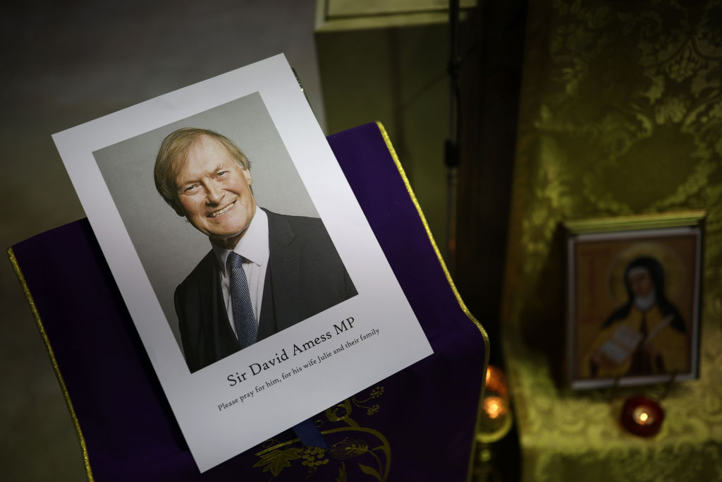 LEIGH-ON-SEA, ENGLAND - OCTOBER 15: A vigil is held at Saint Peter's Catholic Church, following the stabbing of UK Conservative MP Sir David Amess as he met with constituents at a constituency surgery on October 15, 2021 in Leigh-on-Sea, England. Sir David Amess, 69, Conservative MP for Southend West, has died from his injuries after being stabbed multiple times at his constituency surgery taking place in Belfair Methodist Church. A man was arrested at the scene. (Photo by Dan Kitwood/Getty Images)