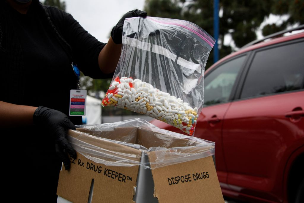 A bag of assorted pills and prescription drugs dropped off for disposal is displayed during the Drug Enforcement Administration (DEA) 20th National Prescription Drug Take Back Day at Watts Healthcare on April 24, 2021 in Los Angeles, California. - According to the Centers for Disease Control and Prevention, the US has seen an increase in drug overdose deaths during the Covid-19 pandemic, accelerating significantly during the first months of the public health emergency, including deaths from opioids and counterfeit pills containing fentanyl. (Photo by Patrick T. FALLON / AFP) (Photo by PATRICK T. FALLON/AFP via Getty Images)