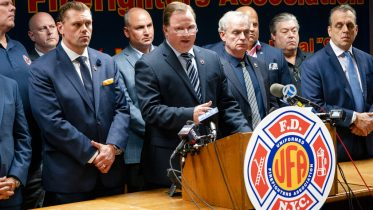 Andrew Ansbro, FDNY Uniformed Firefighters Association President, speaks during a news conference to address a newly announced COVID-19 vaccine mandate, Wednesday, Oct. 20, 2021, in New York. New York City will require police officers, firefighters and other municipal workers to be vaccinated against COVID-19 or be placed on unpaid leave. Mayor Bill de Blasio made the announcement Wednesday. (AP Photo/John Minchillo)