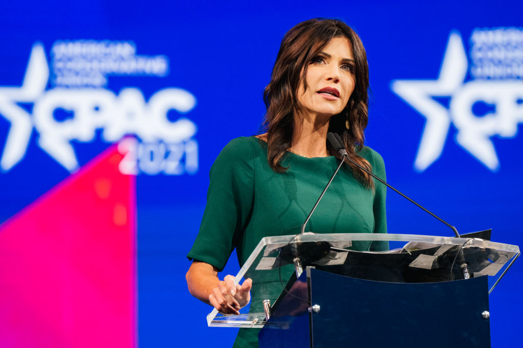 DALLAS, TEXAS - JULY 11: South Dakota Gov. Kristi Noem speaks during the Conservative Political Action Conference CPAC held at the Hilton Anatole on July 11, 2021 in Dallas, Texas. CPAC began in 1974, and is a conference that brings together and hosts conservative organizations, activists, and world leaders in discussing current events and future political agendas. (Photo by Brandon Bell/Getty Images)